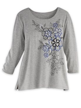 Alfred Dunner Three-Quarter Sleeve Floral Embroidered Top