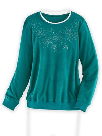 Alfred Dunner Floral Embroidered Fleece Top - Image 1 of 5