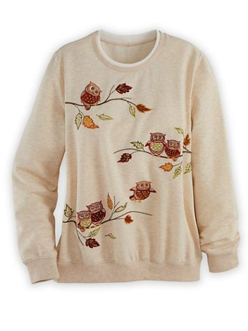 Alfred Dunner Long-Sleeve French Terry Embroidered Top - Image 1 of 4