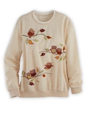 Alfred Dunner Long-Sleeve French Terry Embroidered Top