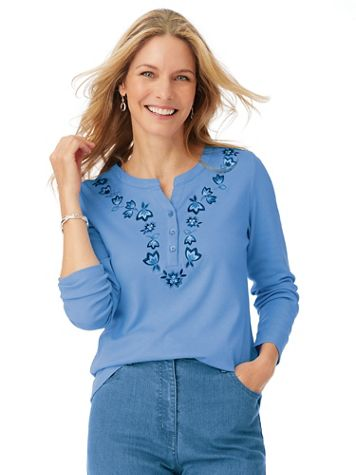 Long-Sleeve Embroidered Henley Top - Image 1 of 5