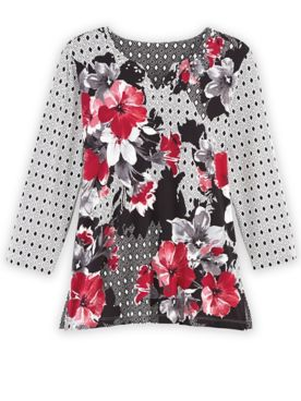 Alfred Dunner Three-Quarter Sleeve Floral Patchwork Knit Top
