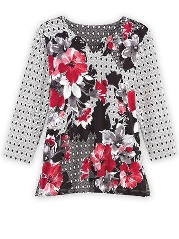 Alfred Dunner Three-Quarter Sleeve Floral Patchwork Knit Top - Image 2 of 2