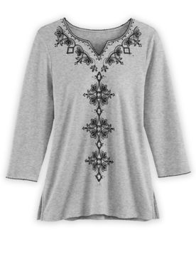 Alfred Dunner Scroll Embroidered Knit Top