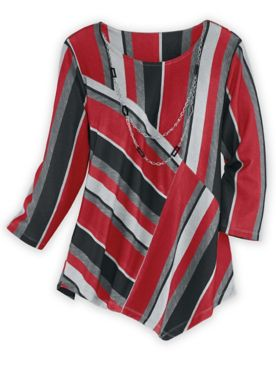 Alfred Dunner Three-Quarter Sleeve Patched Stripe Knit Top