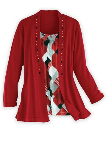 Alfred Dunner® Textured Diamond 2-in-1 Sweater - Image 2 of 2