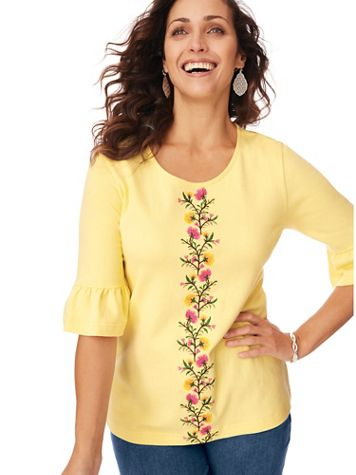 Embroidered Essential Knit Flounce Tee - Image 1 of 3