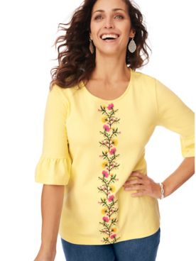 Embroidered Essential Knit Flounce Tee