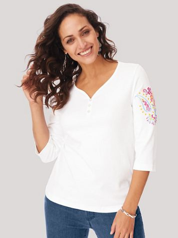 Embroidered Essential Knit Sweetheart Tee - Image 1 of 3