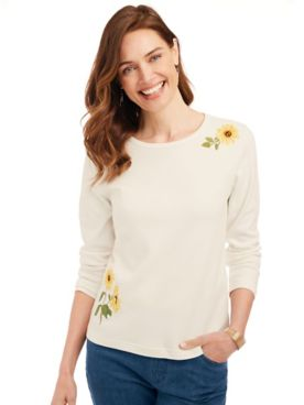 Embroidered Essential Knit Long-Sleeve Tee