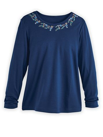 Embroidered Essential Knit Long-Sleeve Tee - Image 2 of 2