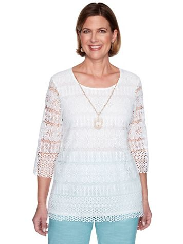 Alfred Dunner Lace Top with Necklace - Image 3 of 3