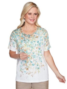 Alfred Dunner Falling Leaves Knit Top
