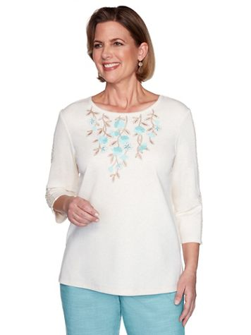 Alfred Dunner Appliqué Floral Knit Top - Image 3 of 3