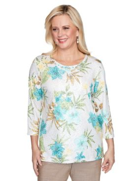 Alfred Dunner Tropical Print Knit Top