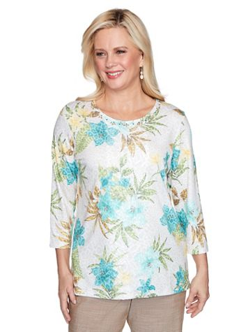 Alfred Dunner Tropical Print Knit Top - Image 3 of 3