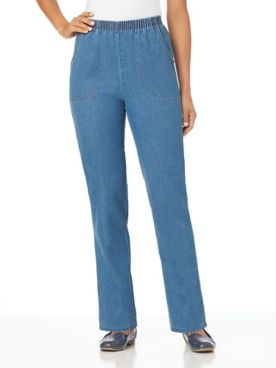 Pure Cotton Elastic-Waist Jeans