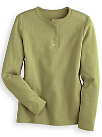 Long-Sleeve Pointelle Henley by Blair