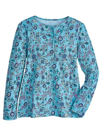 Long-Sleeve Pointelle Henley - Image 0 of 2