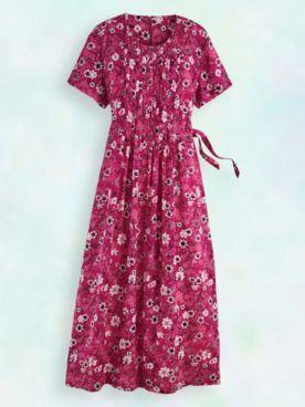 Pintuck Challis Dress