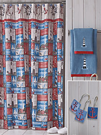 Novelty Shower Curtain Set & 3-PC Towel Set