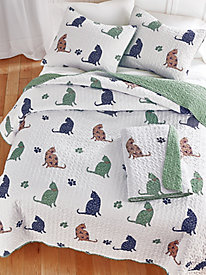 Kitty Paws Reversible Quilt Set and Throw