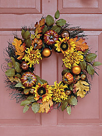 Lighted Fall Wreath by Blair