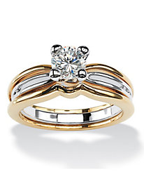 18K Gold-Plated Round Solitaire Ring