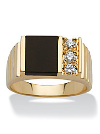 Men's 14K Gold-Plated Onyx Ring
