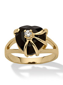 14K Gold-Plated Onyx Heart Ring
