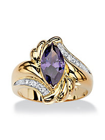 14K Gold-Plated Amethyst Cocktail Ring