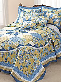 French Star Quilted Bedspread and Coordinates