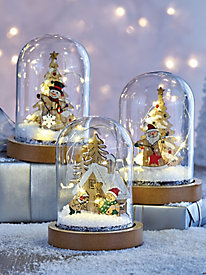 LED Glass Holiday Cloche