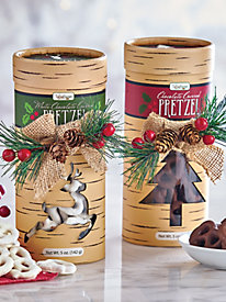 Chocolate Covered Pretzels in Woodland Container