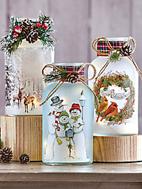 Holiday Lighted Glass Jar