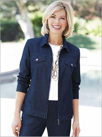 Cotton Pintuck Long Sleeve Denim Jean Jacket - Image 2 of 4