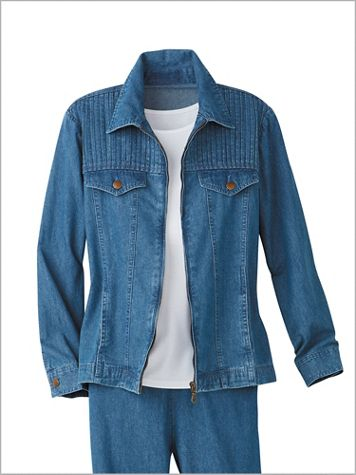 Cotton Pintuck Long Sleeve Denim Jean Jacket - Image 0 of 1