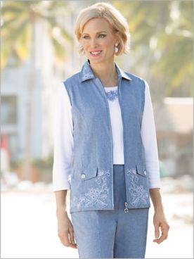 Embroidered Chambray Vest
