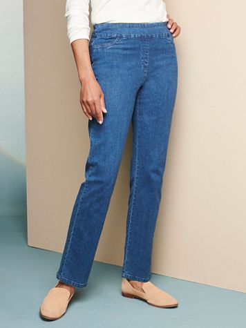Slimtacular® Straight Leg Pull-On Denim Jeans - Image 1 of 6