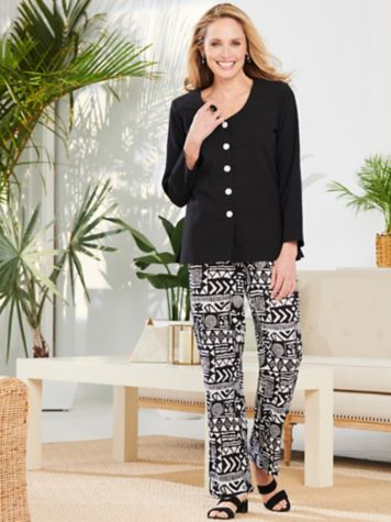 V-Neck Gauze Top & Aztec Print Pants by Brownstone Studio®