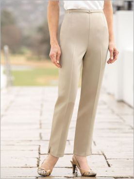 Herringbone Pull-On Ankle Pants