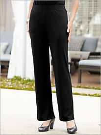 Crepe Knit Flat-Front Pull-on Pants