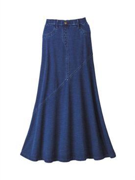 Comfort Knit Denim Skirt