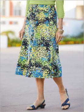 Modern Mosaic Floral Gored Skirt
