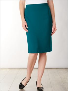 Textured Stretch Crepe Pencil Skirt