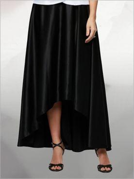 High Low Satin Skirt by Alex Evenings