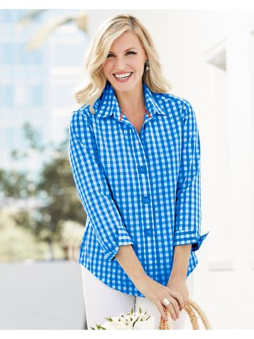 Foxcroft Wrinkle Free 3/4 Sleeve Gingham Shirt - Image 2 of 2
