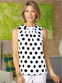 Sleeveless Polka Dot Blouse by Brownstone Studio®
