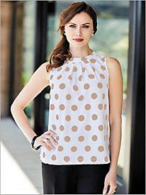 Sleeveless Polka Dot Blouse by Brownstone Studio®