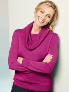 Cotton Rayon Cowl Neck Long Sleeve Sweater